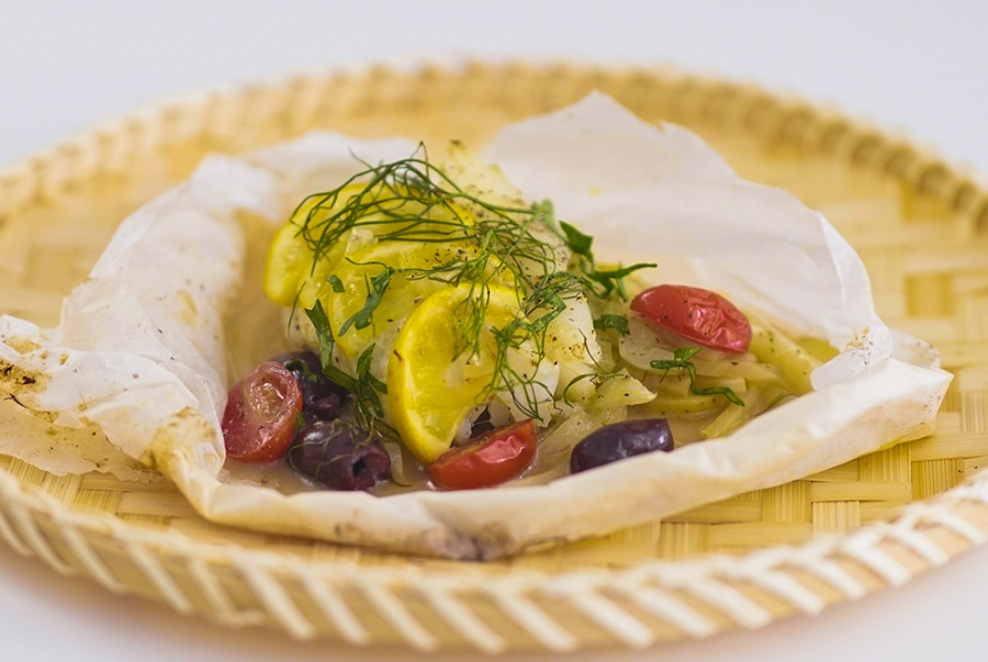 Mediterranean Style Fish En Papillote With Cannabis Oil